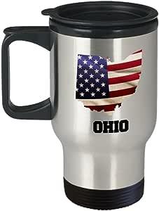 I Love Ohio Travel Coffee Mugs Travel Coffee Cup Sets - Travel Mug Travel Coffee Mugs Tea Cups 14 OZ Gift Ideas State Love Gift Idea
