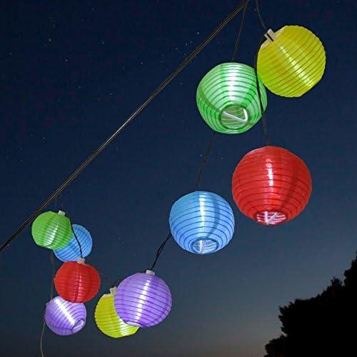 LED cadena de luz solar Party – con 10 Jardín farolillos multicolor – Exterior Fiesta iluminación: Amazon.es: Iluminación