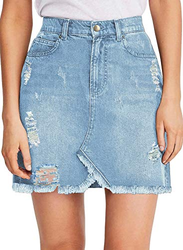 Juniors Denim Mini Skirt - luvamia Women's Casual Jean Skirts High Waisted Ripped Denim Short Skirt R Light Blue Size Small