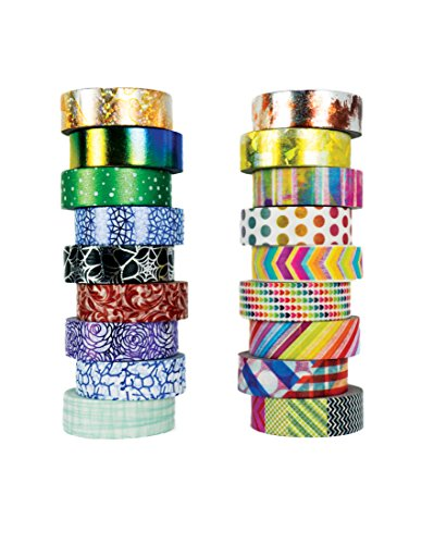 Washi Tape set 18 rolls by Tanpopo Art -Contemporary Collection | Rainbow Colors with Modern Unique Design - Rainbow Hearts Colored
