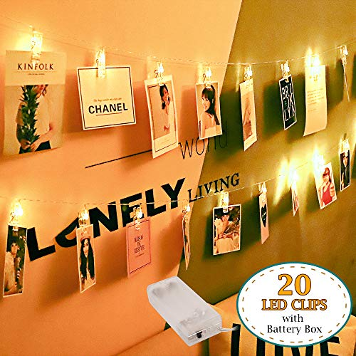 WED 20 LED Photo String Clips Holder Lights Battery Powered Fairy Twinkle Lights,Wedding Parties,Home Decor Lights for Hanging Photos, Cards and Artwork (10 Feet,Warm White)