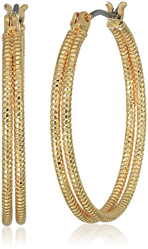 Gold Tone Textured and Polished Double Layer Hoop Earrings