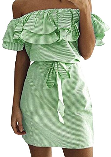 UGET Women's Casual Off Shoulder Striped Ruffles Strapless Short Dresses Mini Dresses Asia M Green