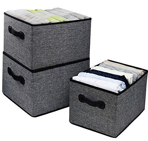 Homyfort Foldable Cloth Storage Bins Boxes, Linen Baskets Drawer Organizer for Closet,Playroom,Home,Office, Bedroom,Kids Toys with Leather Handles Set of 3 Grey