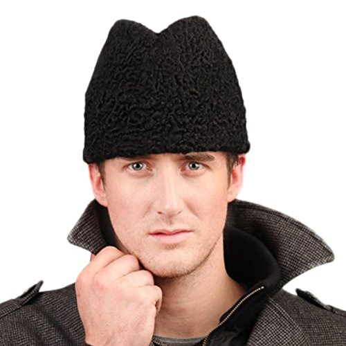 URSFUR Men's Persian Lamb Fur Skull Fedora Hat Black by URSFUR