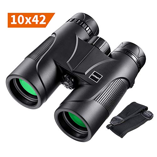 (Binoculars, 10x42 Professional Compact Binoculars with BAK4 Prism FMC Lens for Outdoor Hunting, Bird Watching, Traveling and Sporting Events with Strap)