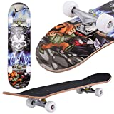 Costzon 31'' x 8'' Complete Skateboard Maple Deck Wood Professional Skate Board (Skull & Bluefire)
