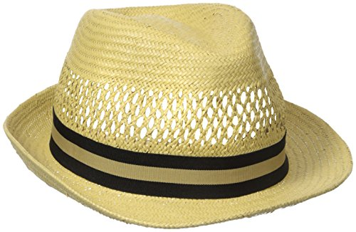 Henschel Men's Vented Toyo Straw Fedora with Striped Ribbon Band, Wheat, X-Large (Mens Striped Fedora)