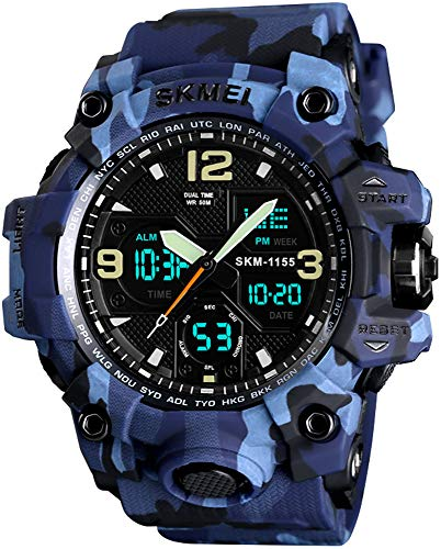 Multifunction Stopwatch - Men's Analog Digital Waterproof Sports Watch Military Multifunction Dual Time Stopwatch Alarm Back Light 50M Water Resistant Watch (Camouflage Blue)