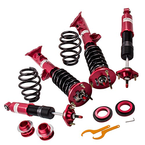 (Coilovers Shock Absorber with 24-Way Adjustable Damper for BMW 3 Series E36 (1992-1999) 318i 318is 318ic 323i 323ic 323is 328i 328is 328ic M3 - Red)