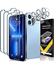 [3+3 Pack] EGV 3 Pack Screen Protector for iPhone 13 Pro Max 6.7 inch with 3 PCS Camera Lens Protector Tempered Glass, HD Screen, Bubble Free, Case Friendly, Film Easy Installation Tray, Sensitive Touch, Ultra-Thin