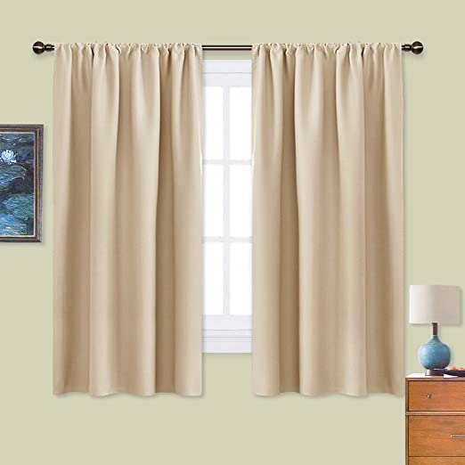 Amazon Com Nicetown Room Darkening Curtains For Bedroom Triple Weave Home Decoration Thermal Insulated Solid Window Drapes Set Of 2 Panels 42 X 63 Inch Biscotti Beige Home Kitchen