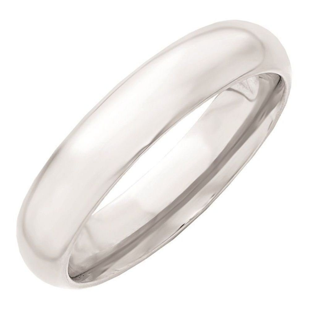 Triostar Light Weight 4mm Plain Band Fine Silver Polish 925 Sterling Silver White Band Ring