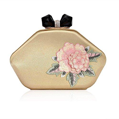 Rhinestone Damara Flower Damara Snap Womens Gold Embroidery Evening Womens Bag FRBwqff