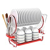 dtemple 2 Tier Dish Stainless Steel Drying Kitchen Storage, Red S Shape Dish Drainer Rack