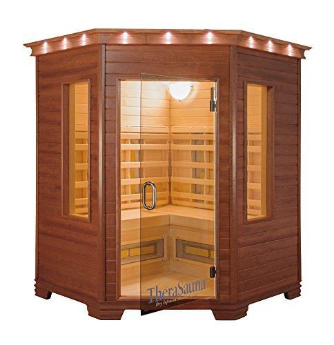 QCA Spas TheraSauna TS6439 3-Person Corner Infrared Health Sauna, 64 by 64 by 38 by 39 by 78-Inch, Warm (3 Person Corner Infrared Sauna)