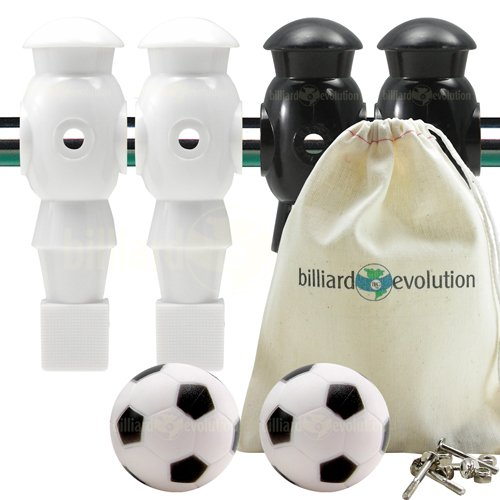 Billiard Evolution 4 White and Black Foosball Men and 2 Soccer Balls with Free Screws and Nuts by Billiard Evolution