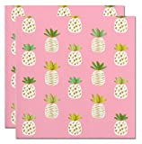 Pineapple Printed Party Napkins (2 Sets of 20 Ct) - Blush Pink Napkins with White Pineapples and Gold Foil Accents