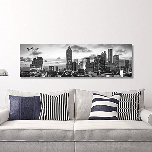 B&W Panoramic Atlanta 14x48 Wrapped Canvas Framed & Ready to Hang by