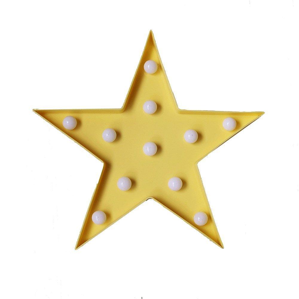 レッドフラミンゴ装飾LEDライト、amzstar Valentine Romance Atmosphereライト、パーティーウェディング誕生日パーティー装飾Kids ' Room電池式LED夜間ライト イエロー AMZSTAR B06XD3PZQY 12575 Star-yellow Staryellow