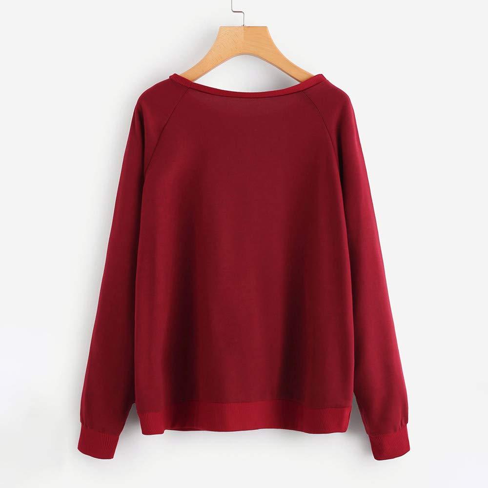Luckycat Camiseta de Manga Larga con Cuello Redondo, Blusa y ...