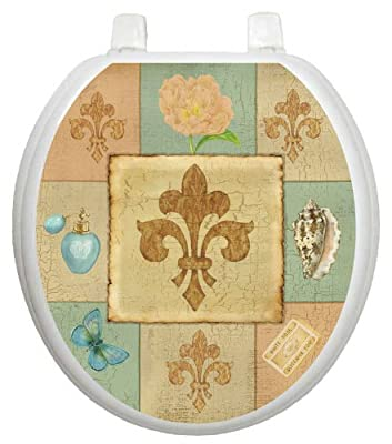 Toilet Tattoos, Toilet Seat Cover Decal,French Lily Collage,Size Round/standard
