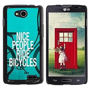 TopCaseStore / la caja del caucho duro de la cubierta de protección de la piel - Nice People Ride Bicycles Quote Eco Green Lifestyle - LG OPTIMUS L90 / D415