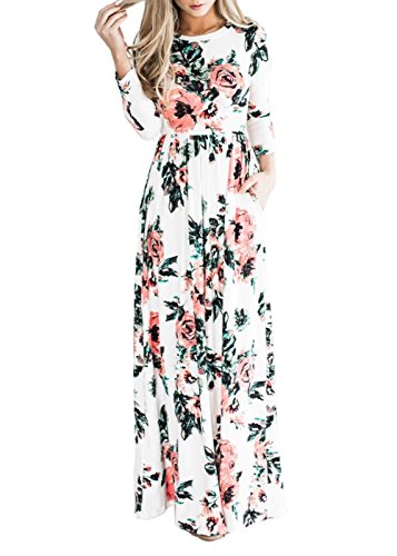 Women Round Neck Floral Print Pocket Long Maxi Casual Dress With Pockets White L
