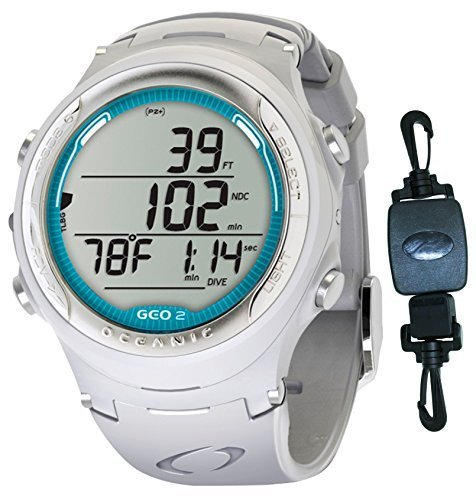 Oceanic Geo 2.0 Air/Nitrox Scuba Diving Computer Watch - White/Sea Blue Decal w/ ShootingUnderwater Retractor Clip ()