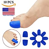 (US) Gel Toe Caps Toe protectors Toe SleevesNEW MATERIAL for Blisters, Corns, Hammer Toes, Ingrown Toenails, Toenails Loss, Friction Pain Relief and More(10 Pcs) (Blue Toe Caps)