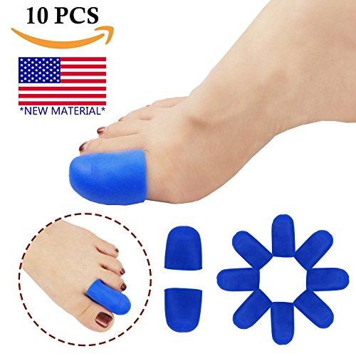 Gel Toe Caps Toe Protectors Toe Sleeves *New Material* for Blisters, Corns, Hammer Toes, Ingrown Toenails, Toenails Loss, Friction Pain Relief and More (Blue Toe Caps)