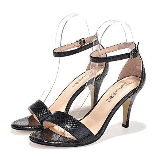 GRRONG Sandalias De La Mujer Sandalias De Metal Expuesto Moda Dedo Gordo Black