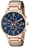Akribos XXIV Men's AK810RGBU Chronograph Quartz Movement Watch with Blue Dial and Rose Gold Stainless Steel Bracelet
