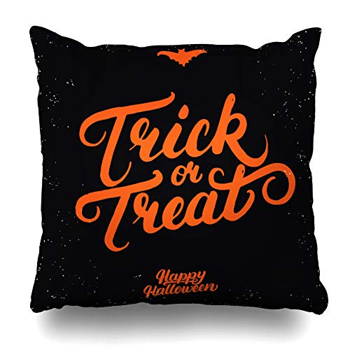 WAYATO Pillow Case Short Plush Throw Pillow Covers Trick Treat Hand Written Lettering Bat Modern Brush Halloween Card Poster Isolated Black Bed Home Decor Cushion Cover 18X18 Inch