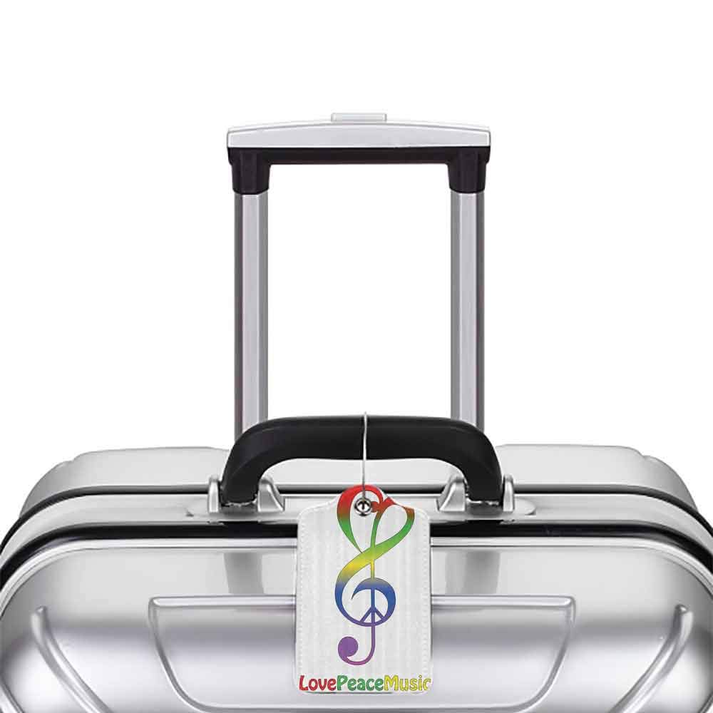 Personalized luggage tag 1960s Decorations Collection Love Peace and Music Clef Musical Notes Bass Old Sign Slogan Live Feeling Celebration Image Easy to carry Red Green W2.7 x L4.6