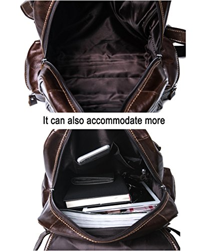 VM FASHION KISS Zipper&hasp Casual Crazy Horse Genuine Leather Backpack vintage Bag by VM FASHION KISS (Image #6)
