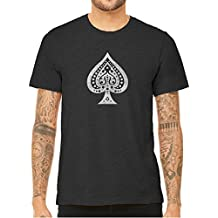 Unisex Mens White Ace of Spades Quality Triblend Short Sleeve T-Shirt