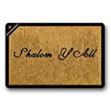 Shalom Y'all Welcome Doormat Decorative Doormat Quote Doormat Welcome Mat Front Porch 23.6(L) X15.7(W) inch