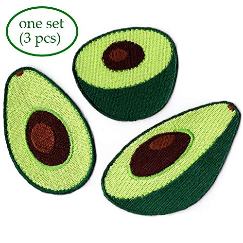 Pbhouse 3 Pack Green Embroidered Avocado Iron on Patches Various DIY Cloth Art Embroidery Decoration