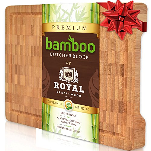 Royal Craft Wood Thick Bamboo Wood Cutting Board/Kitchen Butcher Block - Heavy Duty Chopping Board With Juice Grooves and Handles. Best for Carving Meat, Fish and Chicken | Perfect Housewarming Gift by Royal Craft Wood