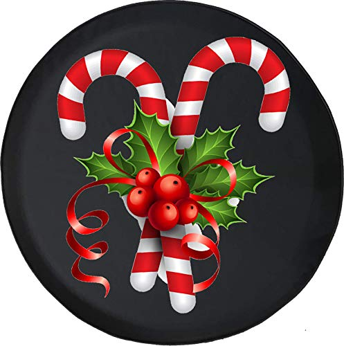 556 Gear Candy Cane Red Bow Xmas Holiday Spirit Festive Snow Winter Jeep Spare Tire Cover Black 30 in