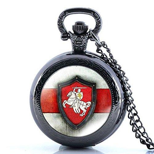 Hunter Quartz Pocket Watch (Belarus Flag Black Antique Full Hunter Vintage Pocket Watch Necklace Quartz Pendant Chain Gift)