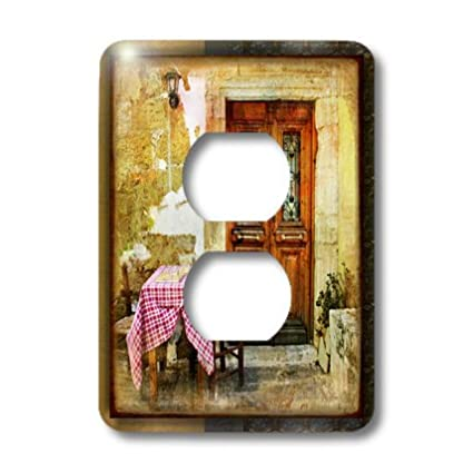 3dRose lsp/_31502/_6 Two Plug Outlet Cover with Greek Cafe