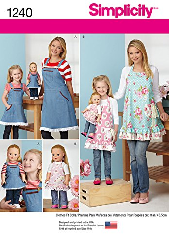 Simplicity 1240 18'' Doll's, Girl's, and Women's Apron Sewing Pattern, Sizes S-L ()