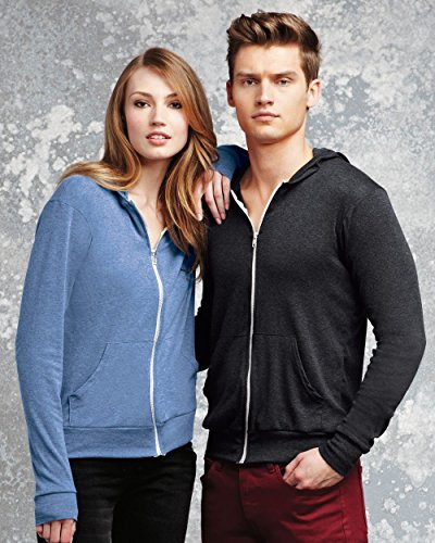picture of Bella 3939 Unisex Triblend Full-Zip Lightweight Hoodie - Emerald Triblend, Extra Small