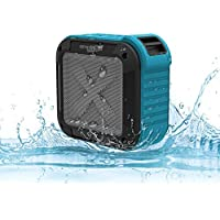 Portable Waterproof Bluetooth Speaker, Wireless, Indoor/Outdoor Mini Shower Speaker, With 8 Hour Rechargeable Battery, Compatible with iPod, iPhone, Android and Samsung Phones, By ampMOB (Blue)