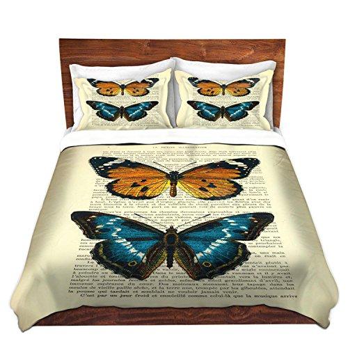 DiaNoche Designs Madame Memento-Monarch Butterflies Brushed Twill Home Decor Bedding Cover, 8 King Duvet Sham Set