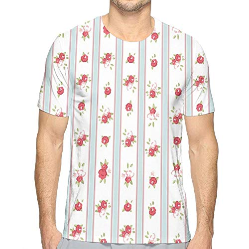 3D Printed T Shirts,Vertical Borders Cute Rose Blooms Cottage Country Cabin Design (Designs Lounge Cottage)