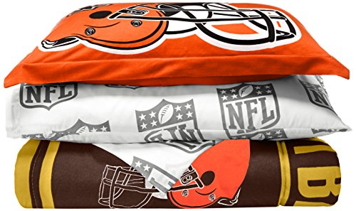 Officially Licensed NFL Cleveland Browns Soft & Cozy 5-Piece Twin Size Bed in a Bag - Set Cleveland Browns Comforter