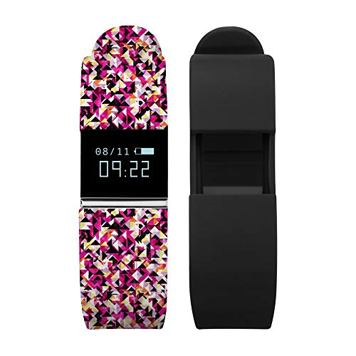 iTouch iFitness Ladies Activity Tracker Watch, Silver Case, Black Dial, Multi Color Printed Strap, Comes with Interchangeable Black Silicone Strap